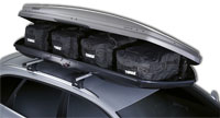Thule Go Pack Roof Bags inside a Thule Roof box