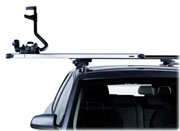 Thule Slide Bars with a ProRide bike rack in the extended position